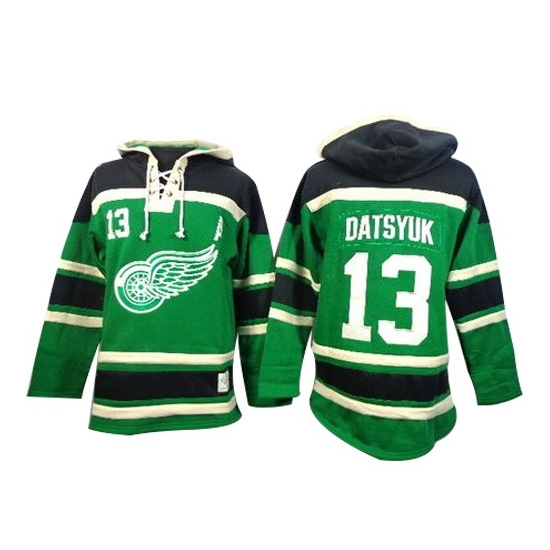 Pavel Datsyuk Detroit Red Wings Old Time Hockey Authentic St. Patrick's Day McNary Lace Hoodie Jersey - Green