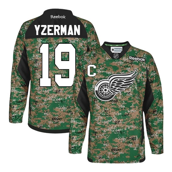 Steve Yzerman Detroit Red Wings Premier Veterans Day Practice Reebok Jersey - Camo