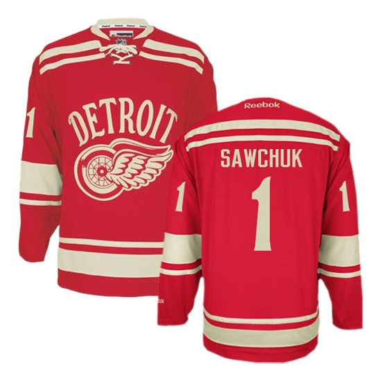 Terry Sawchuk Detroit Red Wings Premier 2014 Winter Classic Reebok Jersey - Red