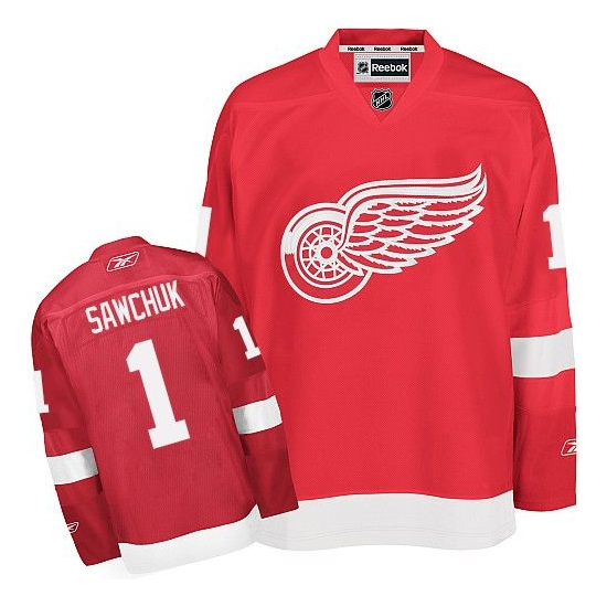 Terry Sawchuk Detroit Red Wings Premier Home Reebok Jersey - Red
