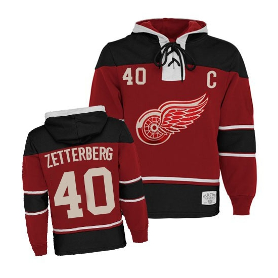 Henrik Zetterberg Detroit Red Wings Old Time Hockey Authentic Sawyer Hooded Sweatshirt Jersey - Red
