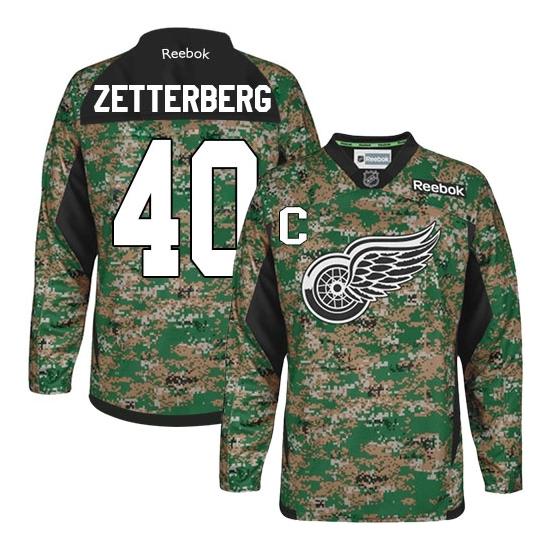 Henrik Zetterberg Detroit Red Wings Authentic Veterans Day Practice Reebok Jersey - Camo