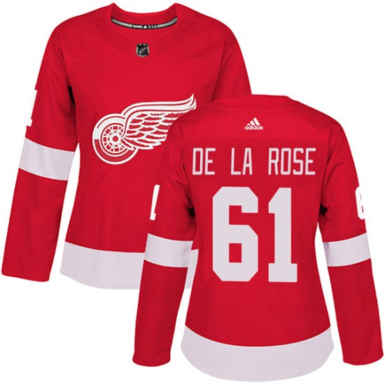 Jacob De La Rose Detroit Red Wings Women's Authentic Home Adidas Jersey - Red