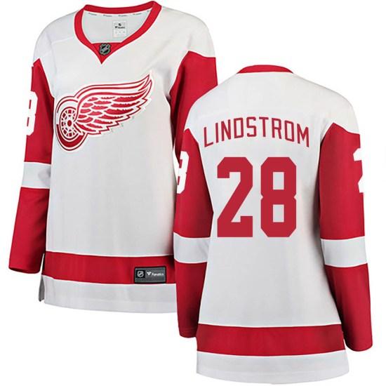 Gustav Lindstrom Detroit Red Wings Women's Breakaway Away Fanatics Branded Jersey - White