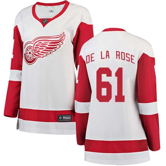 Jacob De La Rose Detroit Red Wings Women's Breakaway Away Fanatics Branded Jersey - White