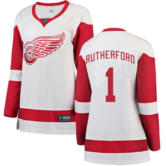 Jim Rutherford Detroit Red Wings Women's Breakaway Away Fanatics Branded Jersey - White