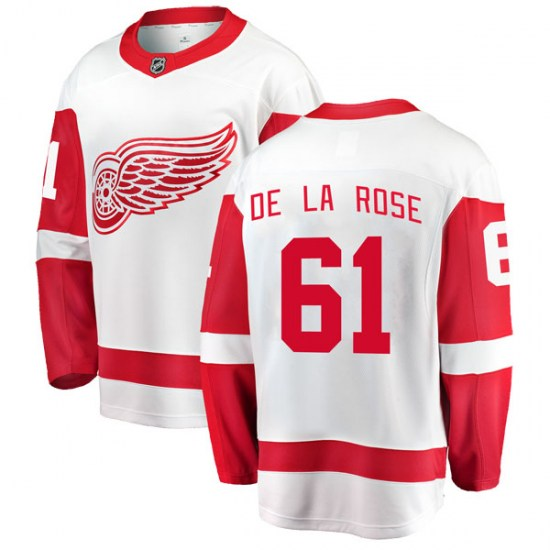 Jacob De La Rose Detroit Red Wings Youth Breakaway Away Fanatics Branded Jersey - White