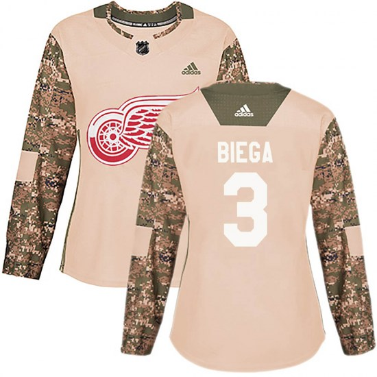 Alex Biega Detroit Red Wings Women's Authentic Veterans Day Practice Adidas Jersey - Camo