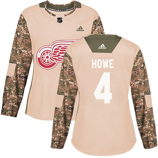 Mark Howe Detroit Red Wings Women's Authentic Veterans Day Practice Adidas Jersey - Camo