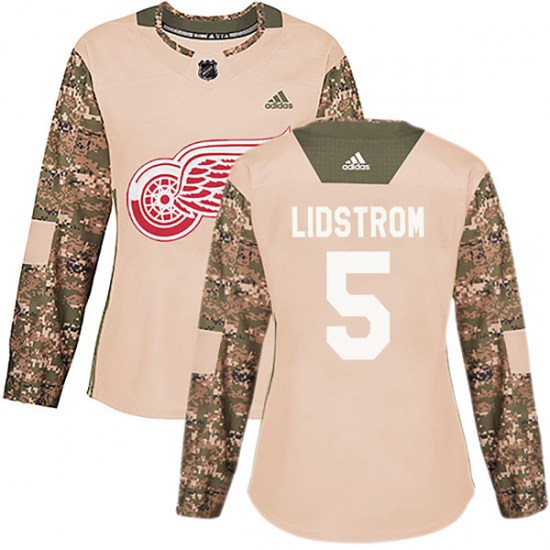 Nicklas Lidstrom Detroit Red Wings Women's Authentic Veterans Day Practice Adidas Jersey - Camo