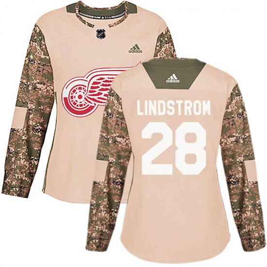 Gustav Lindstrom Detroit Red Wings Women's Authentic Veterans Day Practice Adidas Jersey - Camo