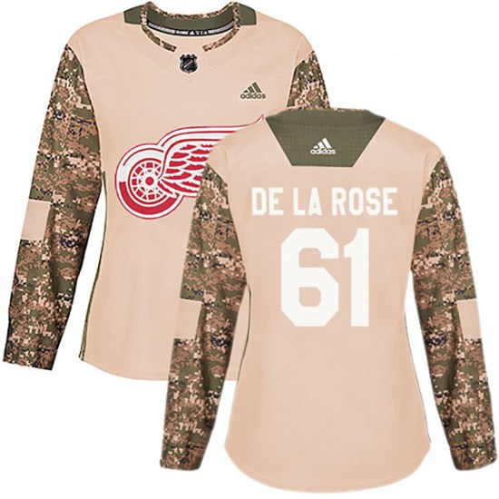 Jacob De La Rose Detroit Red Wings Women's Authentic Veterans Day Practice Adidas Jersey - Camo