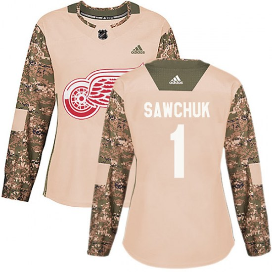 Terry Sawchuk Detroit Red Wings Women's Authentic Veterans Day Practice Adidas Jersey - Camo