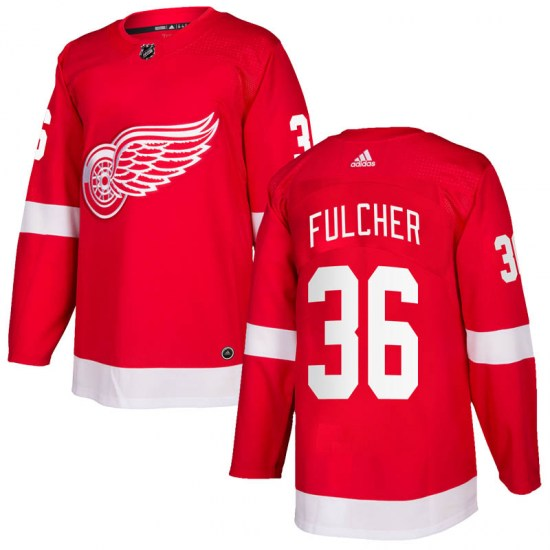 Kaden Fulcher Detroit Red Wings Authentic Home Adidas Jersey - Red
