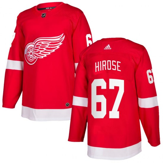 Taro Hirose Detroit Red Wings Authentic Home Adidas Jersey - Red