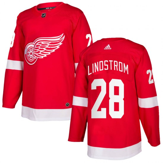 Gustav Lindstrom Detroit Red Wings Authentic Home Adidas Jersey - Red