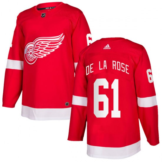 Jacob De La Rose Detroit Red Wings Authentic Home Adidas Jersey - Red