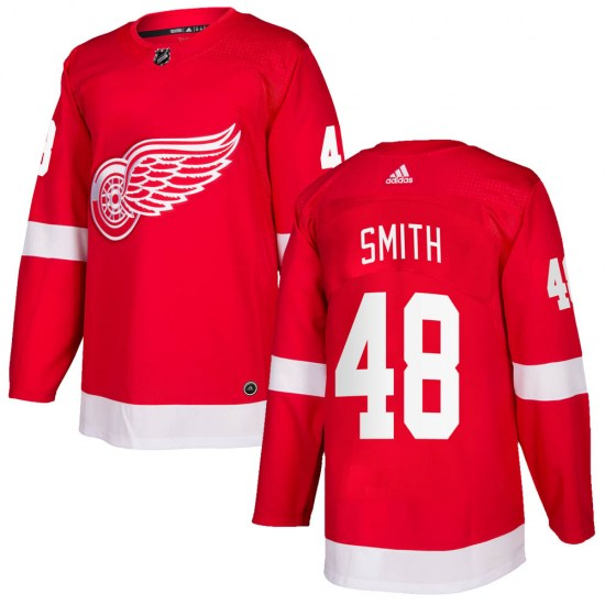 Givani Smith Detroit Red Wings Authentic Home Adidas Jersey - Red