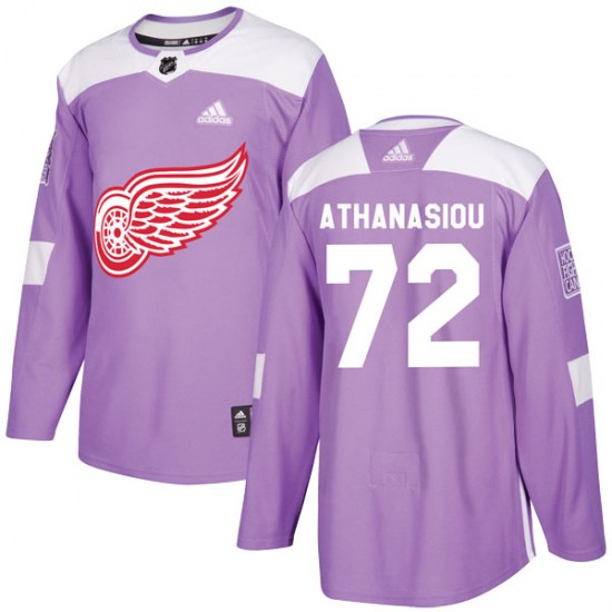 Andreas Athanasiou Detroit Red Wings Authentic Hockey Fights Cancer Practice Adidas Jersey - Purple