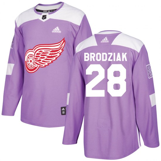 Kyle Brodziak Detroit Red Wings Authentic ized Hockey Fights Cancer Practice Adidas Jersey - Purple