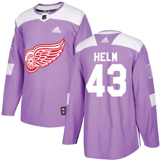 Darren Helm Detroit Red Wings Authentic Hockey Fights Cancer Practice Adidas Jersey - Purple
