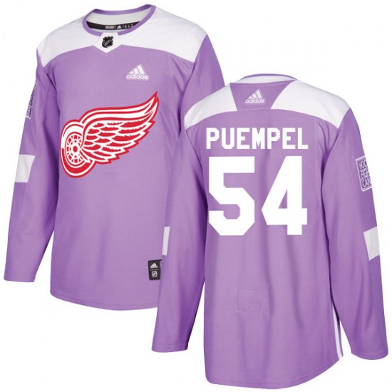 Matt Puempel Detroit Red Wings Authentic Hockey Fights Cancer Practice Adidas Jersey - Purple