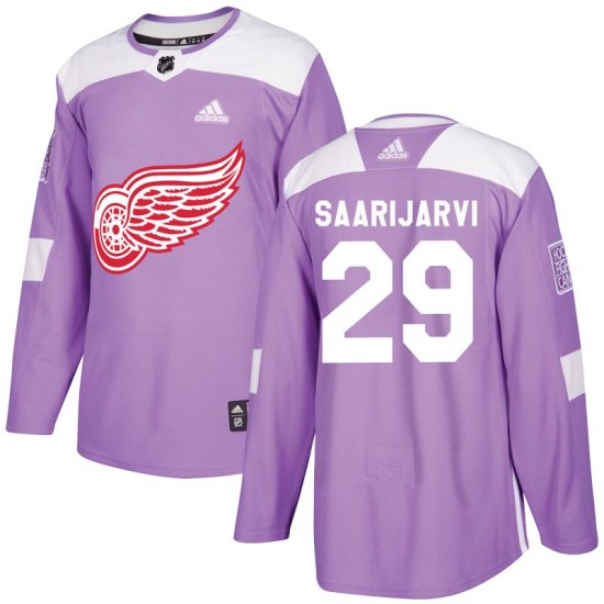 Vili Saarijarvi Detroit Red Wings Authentic Hockey Fights Cancer Practice Adidas Jersey - Purple