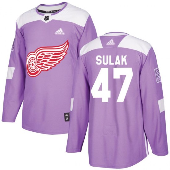 Libor Sulak Detroit Red Wings Authentic Hockey Fights Cancer Practice Adidas Jersey - Purple