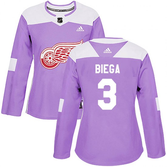 Alex Biega Detroit Red Wings Women's Authentic Hockey Fights Cancer Practice Adidas Jersey - Purple