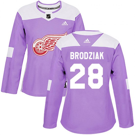Kyle Brodziak Detroit Red Wings Women's Authentic ized Hockey Fights Cancer Practice Adidas Jersey - Purple