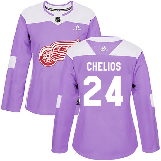 Chris Chelios Detroit Red Wings Women's Authentic Hockey Fights Cancer Practice Adidas Jersey - Purple