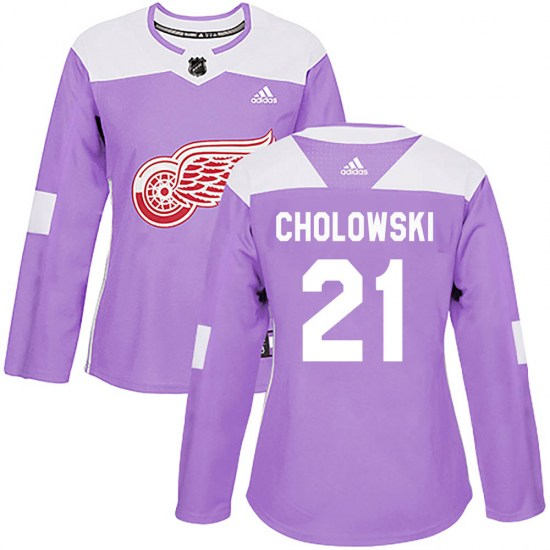 Dennis Cholowski Detroit Red Wings Women's Authentic Hockey Fights Cancer Practice Adidas Jersey - Purple
