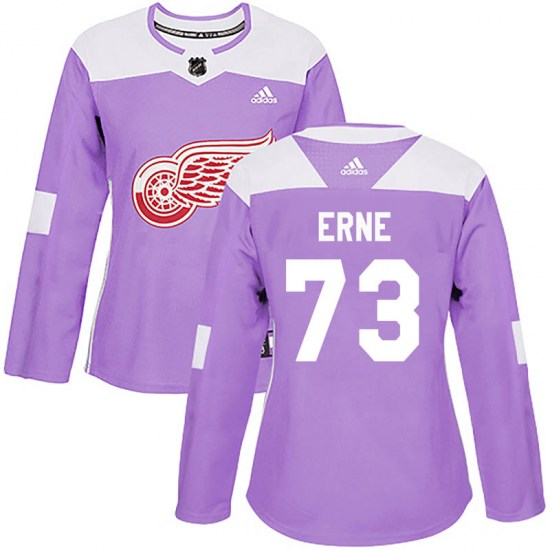 Adam Erne Detroit Red Wings Women's Authentic Hockey Fights Cancer Practice Adidas Jersey - Purple
