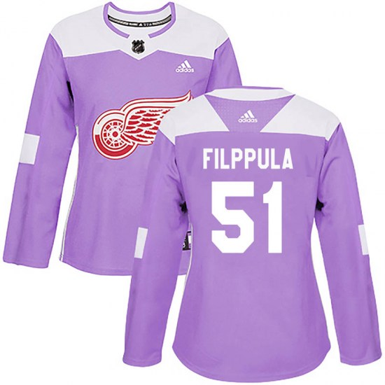 Valtteri Filppula Detroit Red Wings Women's Authentic Hockey Fights Cancer Practice Adidas Jersey - Purple