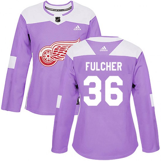 Kaden Fulcher Detroit Red Wings Women's Authentic Hockey Fights Cancer Practice Adidas Jersey - Purple