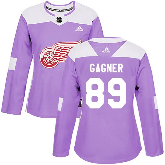 Sam Gagner Detroit Red Wings Women's Authentic ized Hockey Fights Cancer Practice Adidas Jersey - Purple