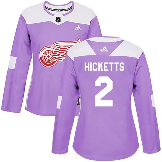 Joe Hicketts Detroit Red Wings Women's Authentic Hockey Fights Cancer Practice Adidas Jersey - Purple