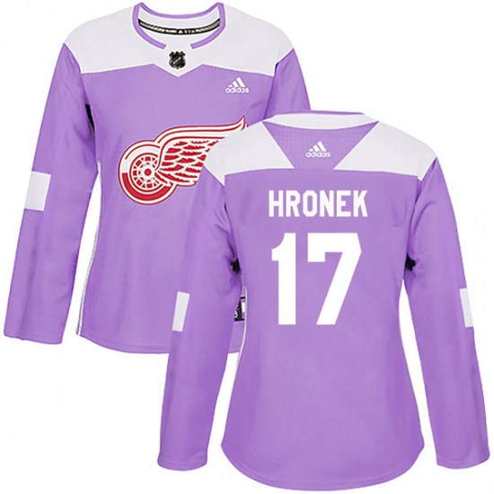 Filip Hronek Detroit Red Wings Women's Authentic Hockey Fights Cancer Practice Adidas Jersey - Purple