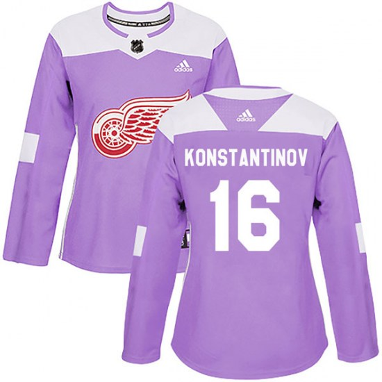 Vladimir Konstantinov Detroit Red Wings Women's Authentic Hockey Fights Cancer Practice Adidas Jersey - Purple