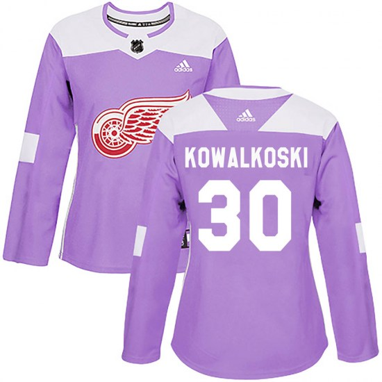 Justin Kowalkoski Detroit Red Wings Women's Authentic Hockey Fights Cancer Practice Adidas Jersey - Purple