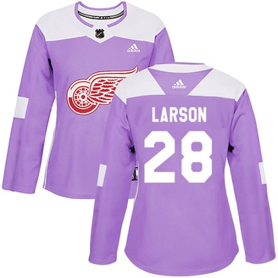 Reed Larson Detroit Red Wings Women's Authentic Hockey Fights Cancer Practice Adidas Jersey - Purple