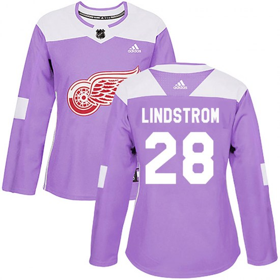 Gustav Lindstrom Detroit Red Wings Women's Authentic Hockey Fights Cancer Practice Adidas Jersey - Purple