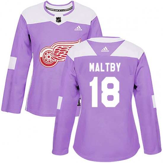 Kirk Maltby Detroit Red Wings Women's Authentic Hockey Fights Cancer Practice Adidas Jersey - Purple