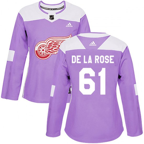 Jacob De La Rose Detroit Red Wings Women's Authentic Hockey Fights Cancer Practice Adidas Jersey - Purple