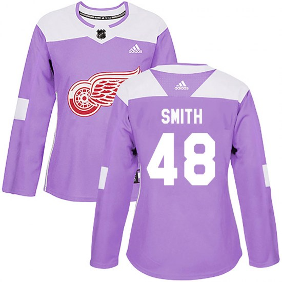 Givani Smith Detroit Red Wings Women's Authentic Hockey Fights Cancer Practice Adidas Jersey - Purple
