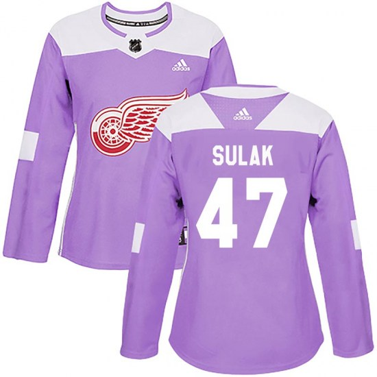 Libor Sulak Detroit Red Wings Women's Authentic Hockey Fights Cancer Practice Adidas Jersey - Purple