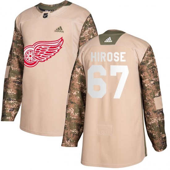 Taro Hirose Detroit Red Wings Youth Authentic Veterans Day Practice Adidas Jersey - Camo