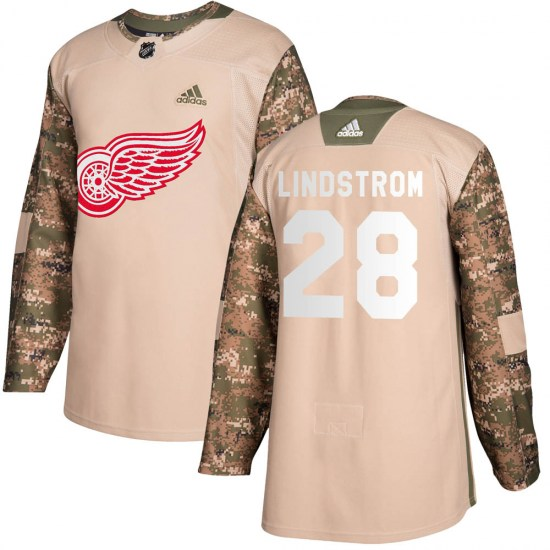 Gustav Lindstrom Detroit Red Wings Youth Authentic Veterans Day Practice Adidas Jersey - Camo