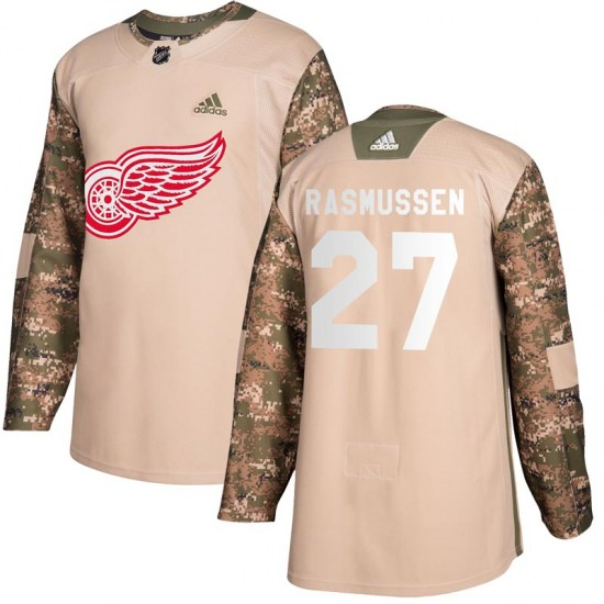 Michael Rasmussen Detroit Red Wings Youth Authentic Veterans Day Practice Adidas Jersey - Camo