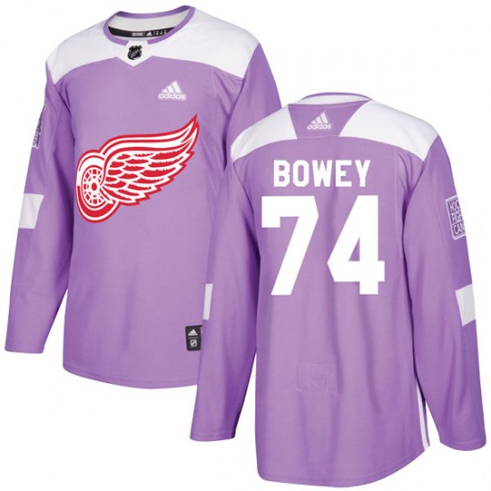 Madison Bowey Detroit Red Wings Youth Authentic Hockey Fights Cancer Practice Adidas Jersey - Purple